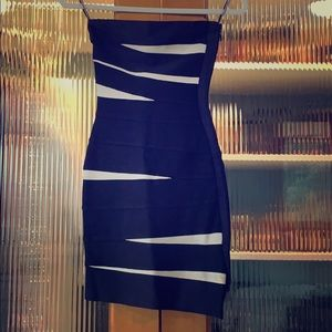 Herve Leger Navy blue and white XS